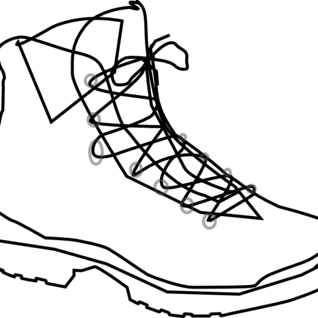 Boots clipart drawing. Hiking black and white