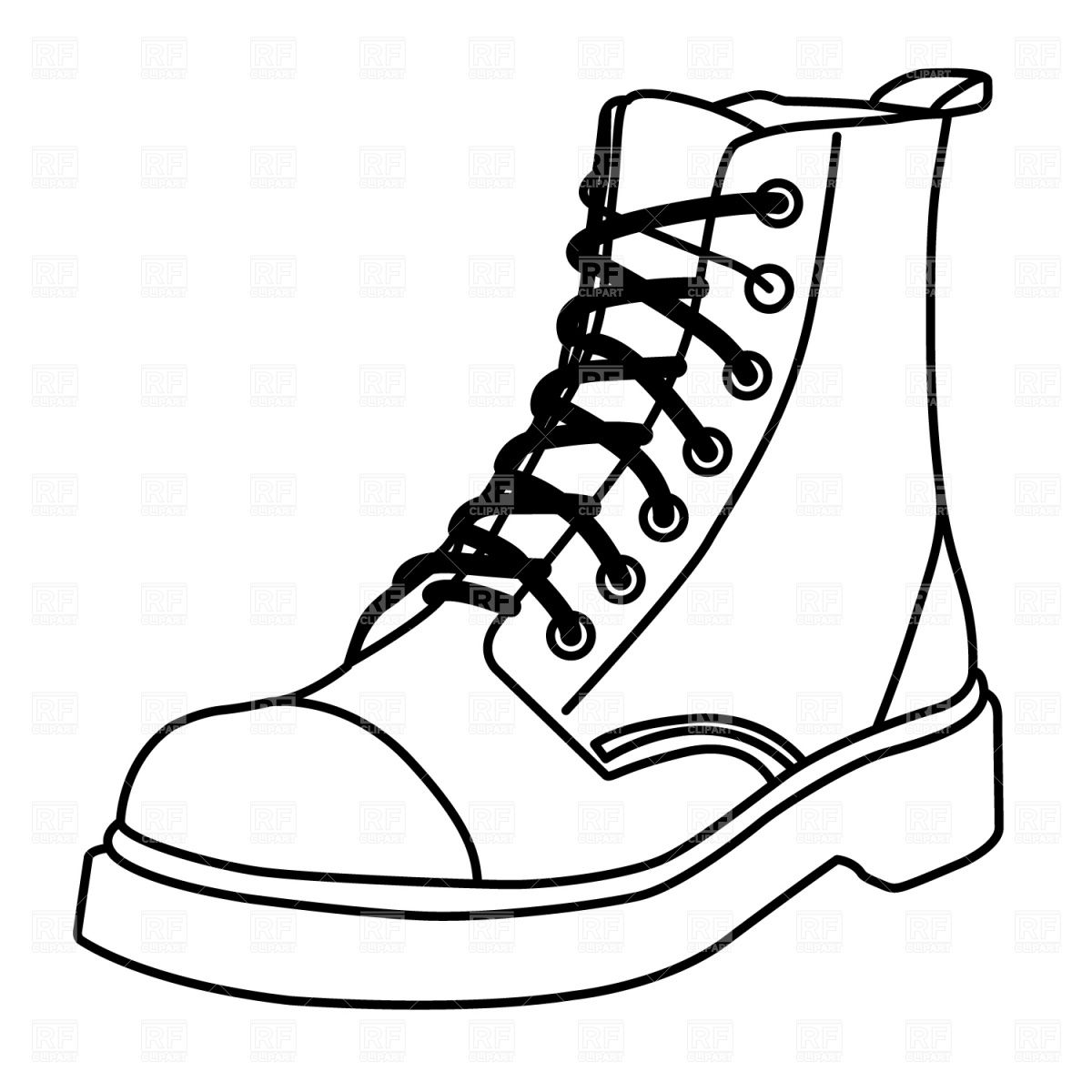 Boot outline vector image. Boots clipart drawing