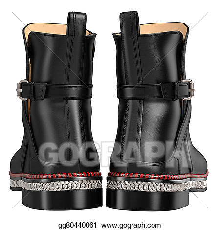 Stock men s leather. Boots clipart illustration