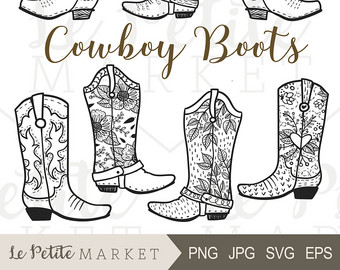 Cute cowboy boot images. Boots clipart illustration