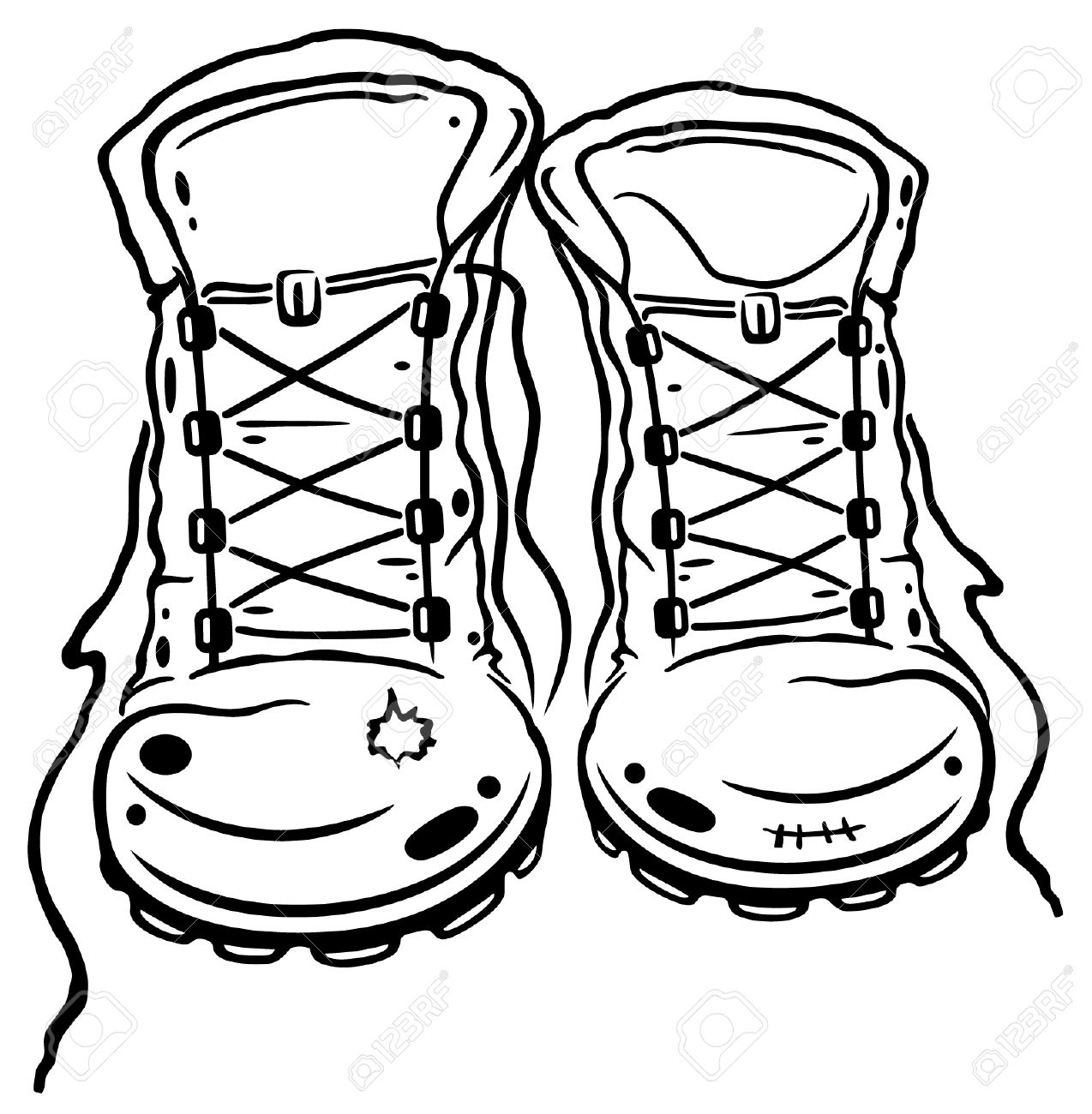 Hiking walking boot pencil. Boots clipart illustration