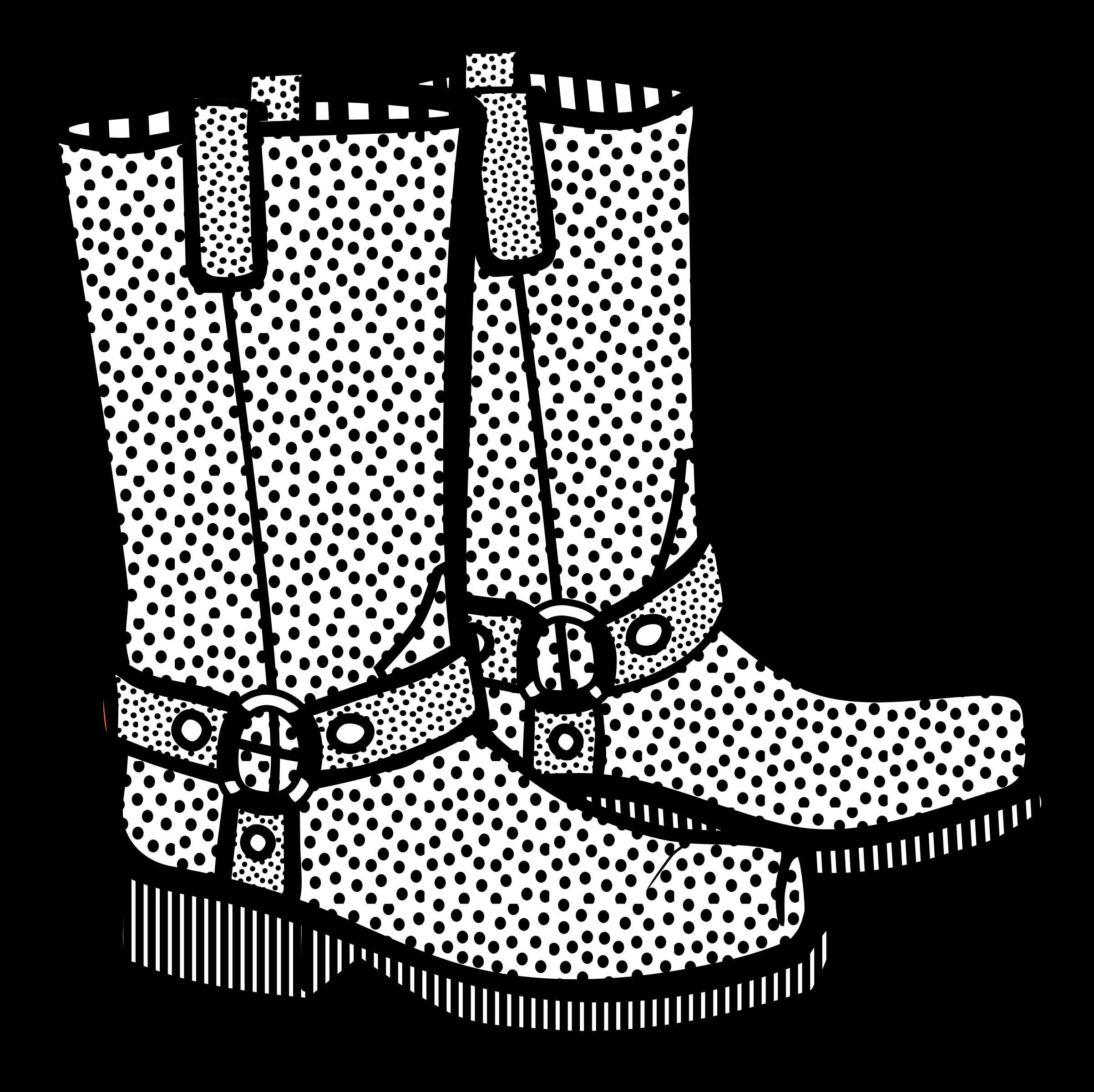 Boots lineart big image. Clipart santa boot