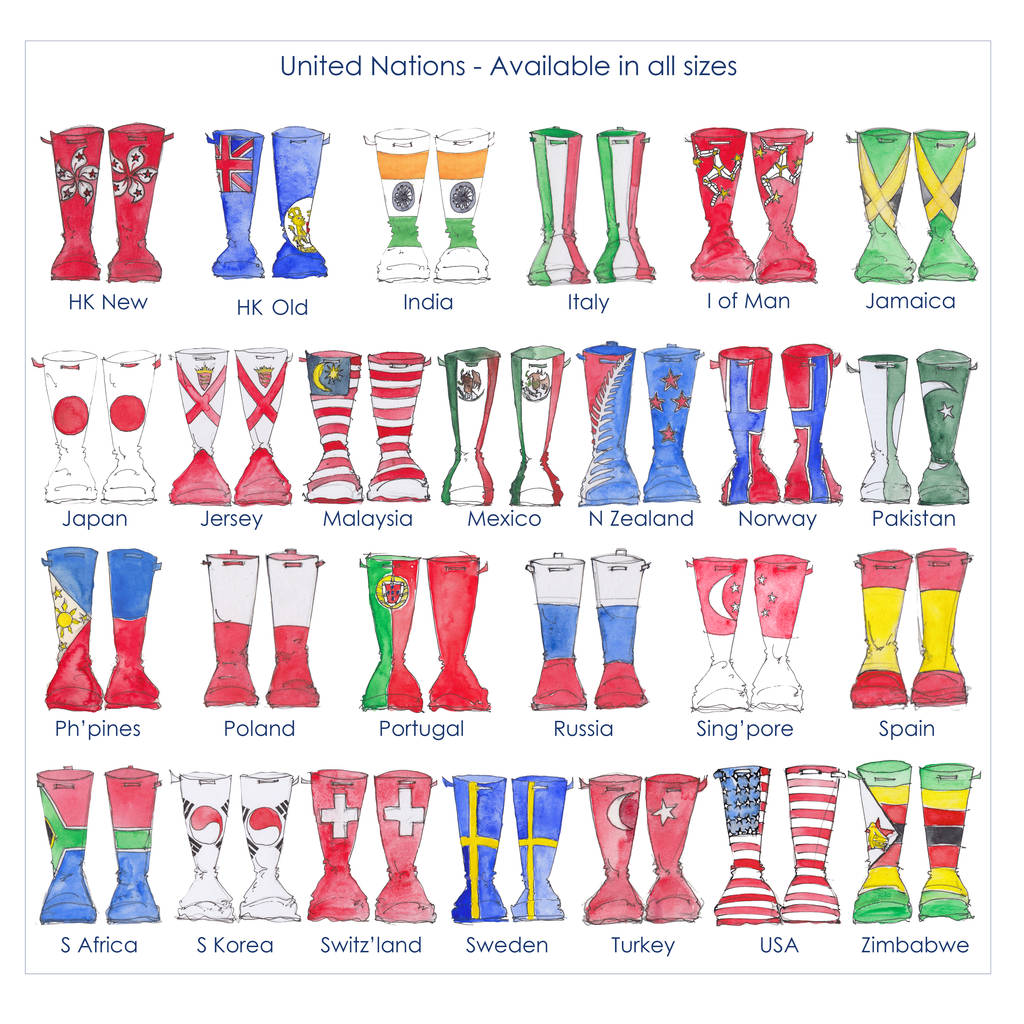 Personalised welly family print. Boot clipart wellington boot