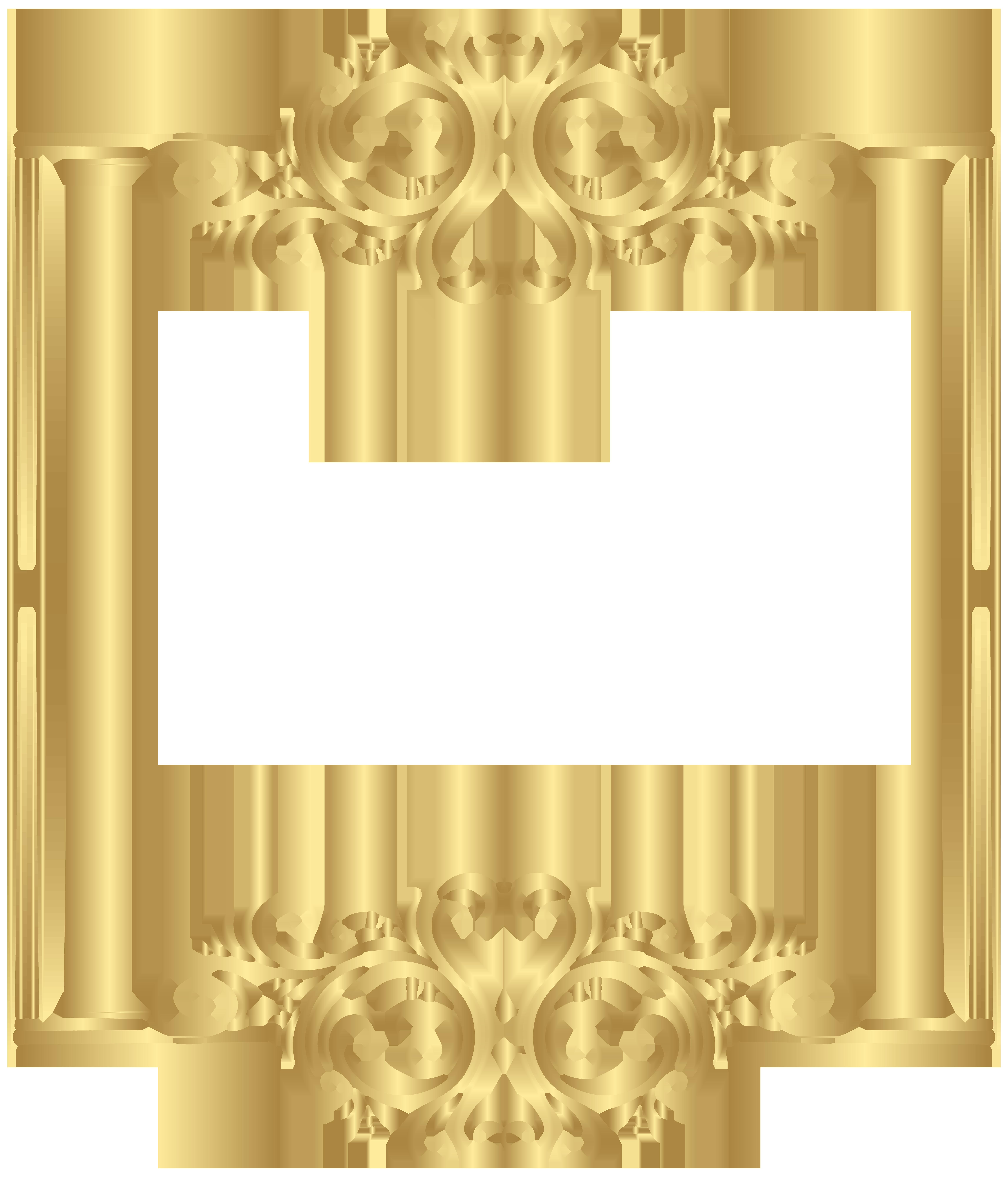 Hills clipart border. Gold frame png clip