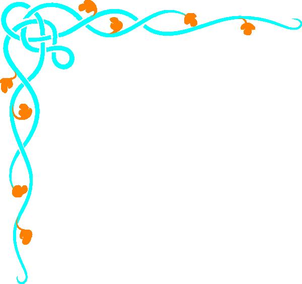 Blue and orange swirl. Border clip art decorative