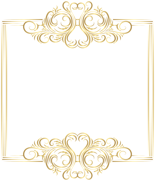 Border frame png clip. Scroll clipart gold