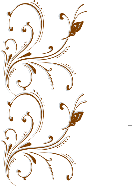 Border clip art elegant. Brown butterfly scroll at