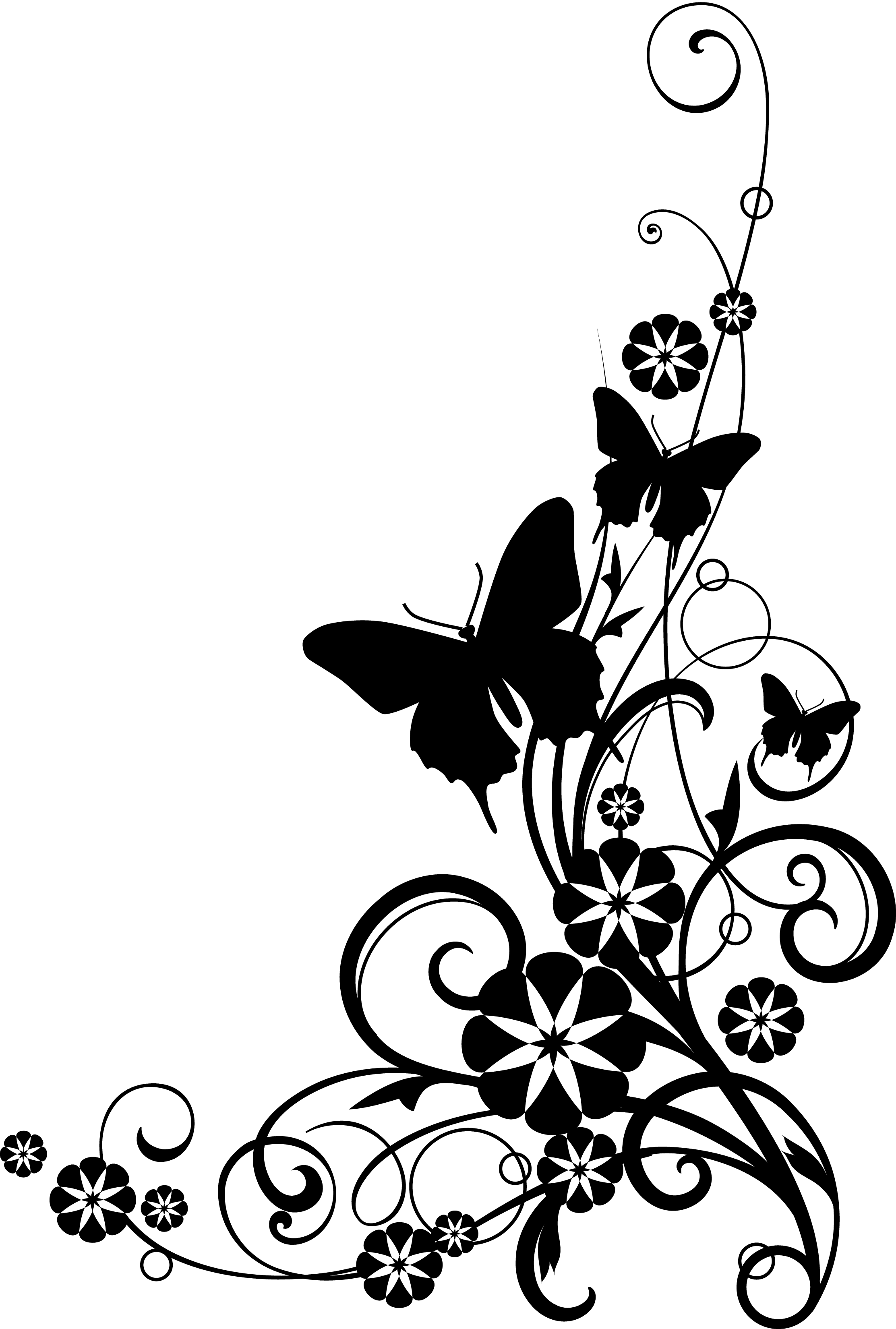 Wildflower sketch black and. Clipart butterfly dance