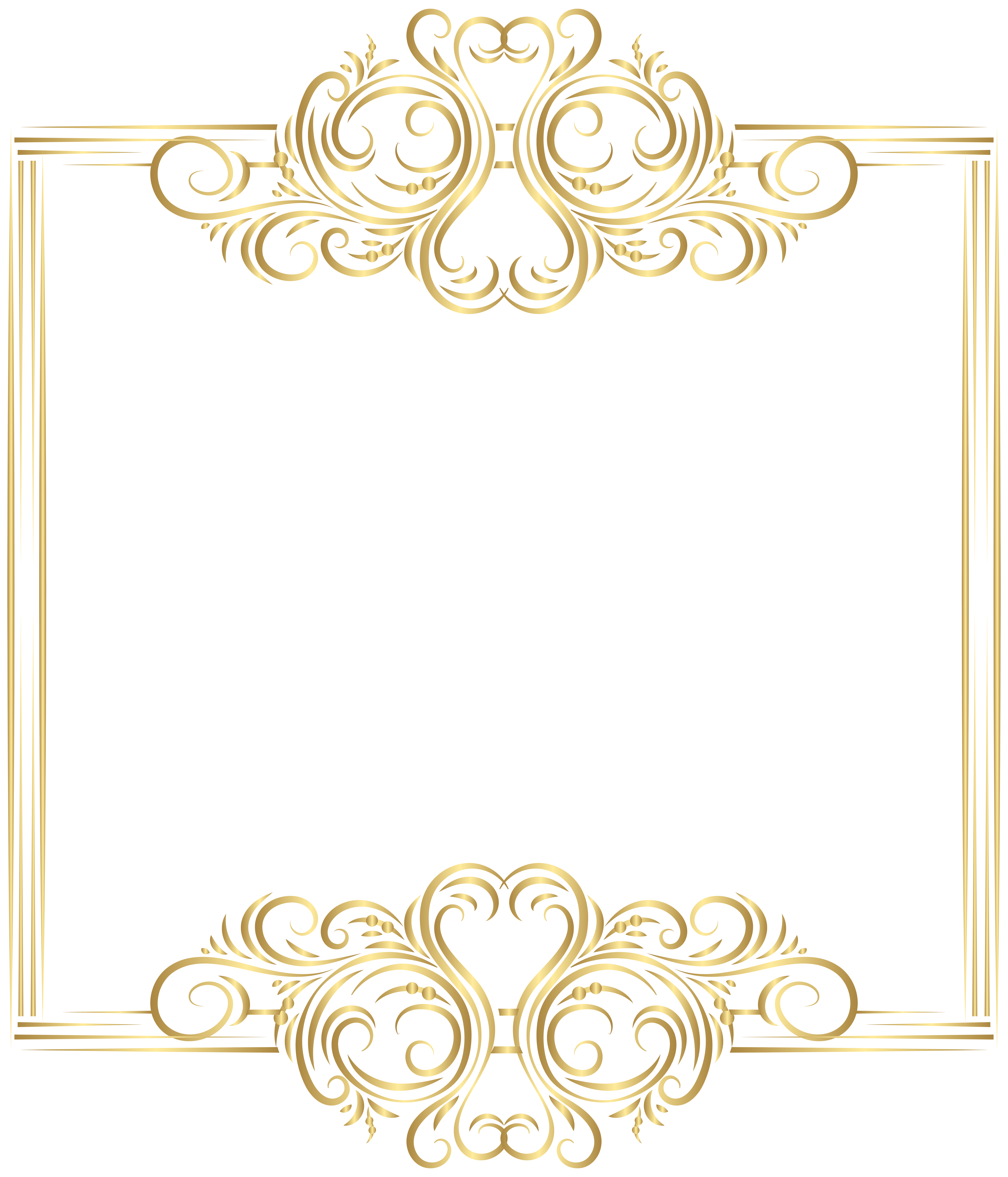 Gold border png clip. Pineapple clipart frame