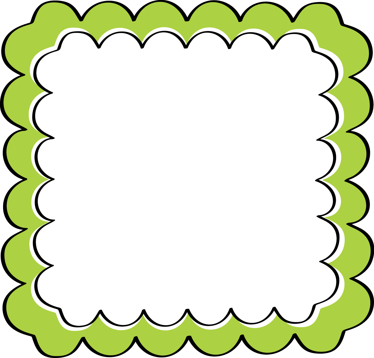 Jazz clipart border. School theme green scalloped
