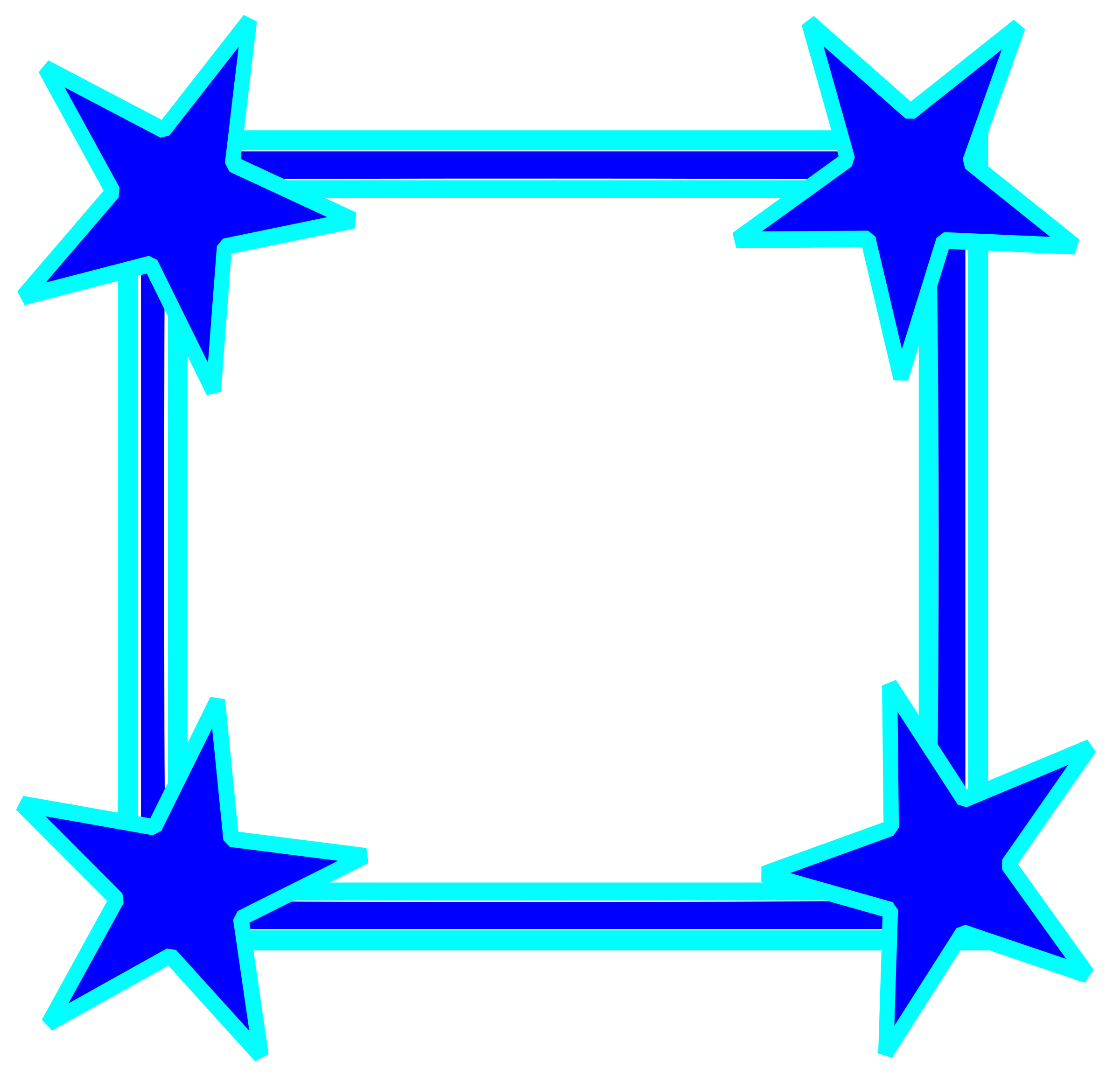 Clipart frame simple. Bright blue star cornered