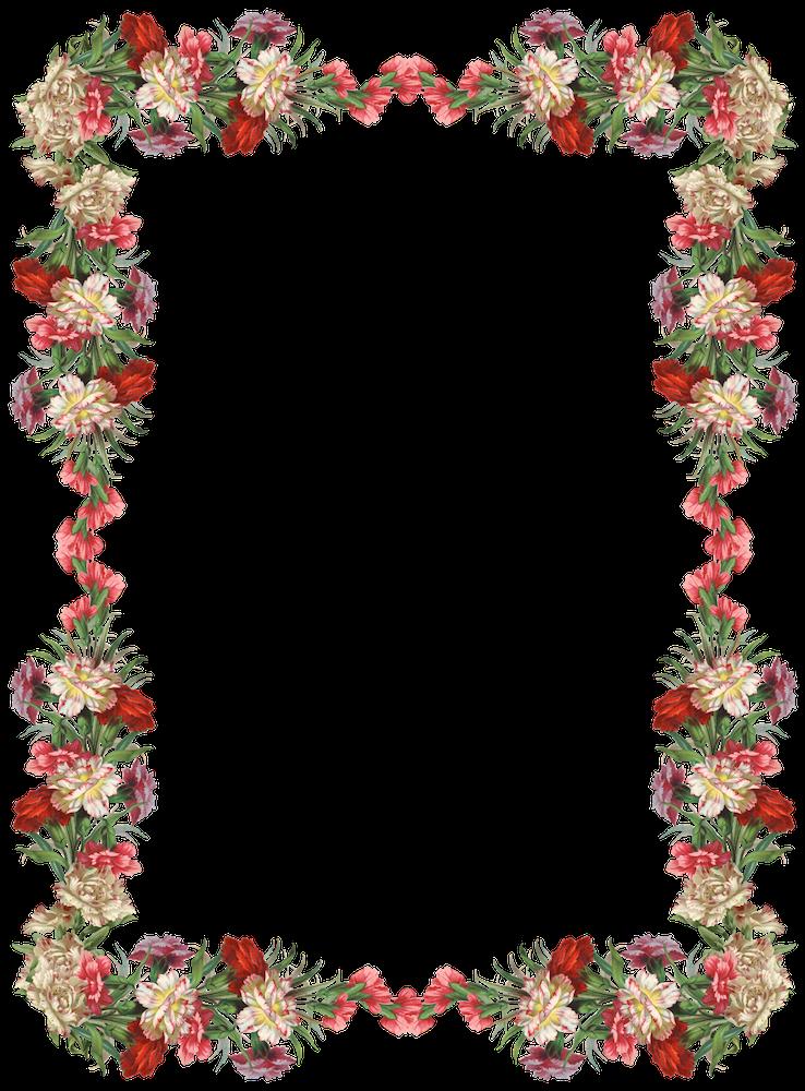 Flowers border png. Free digital vintage flower