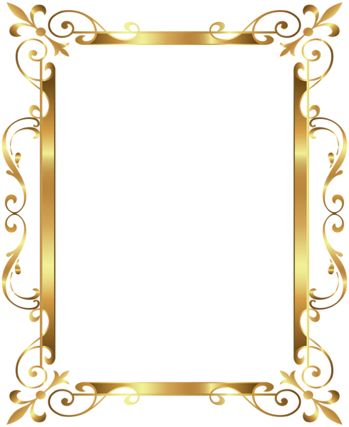 Gold frame deco transparent. Golden border png