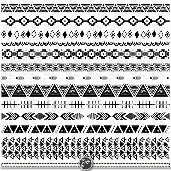 Borders tribal ribbon ethnic. Aztec clipart border