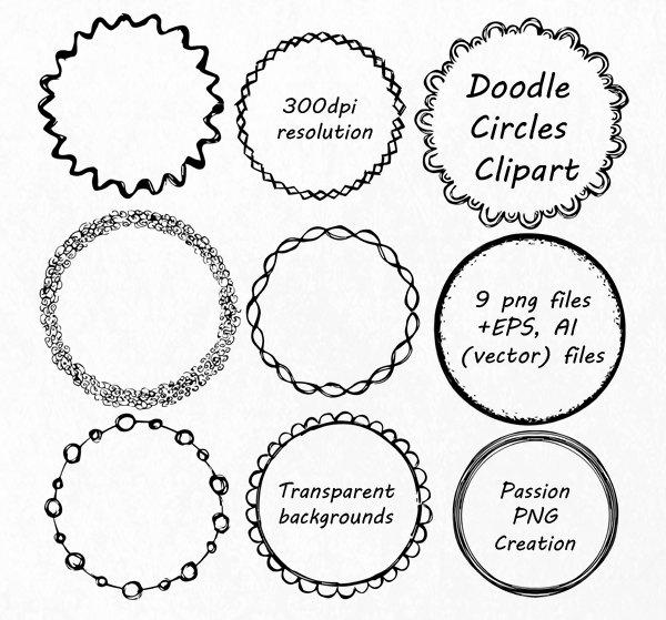 Border clipart circle. Doodle hand drawn frames
