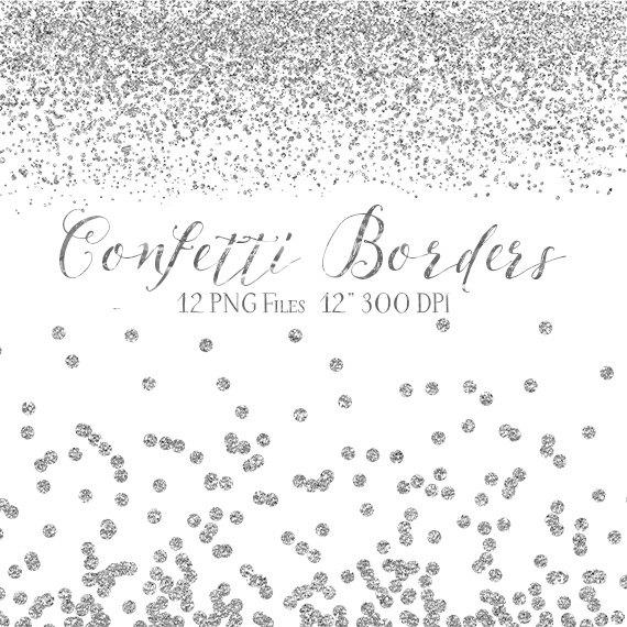 Boarder clipart confetti. Silver borders glitter digital
