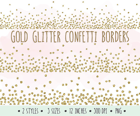 Gold glitter confetti borders. Background clipart sparkle