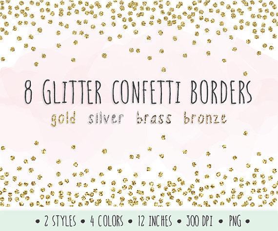 Confetti borders clip art. Border clipart glitter