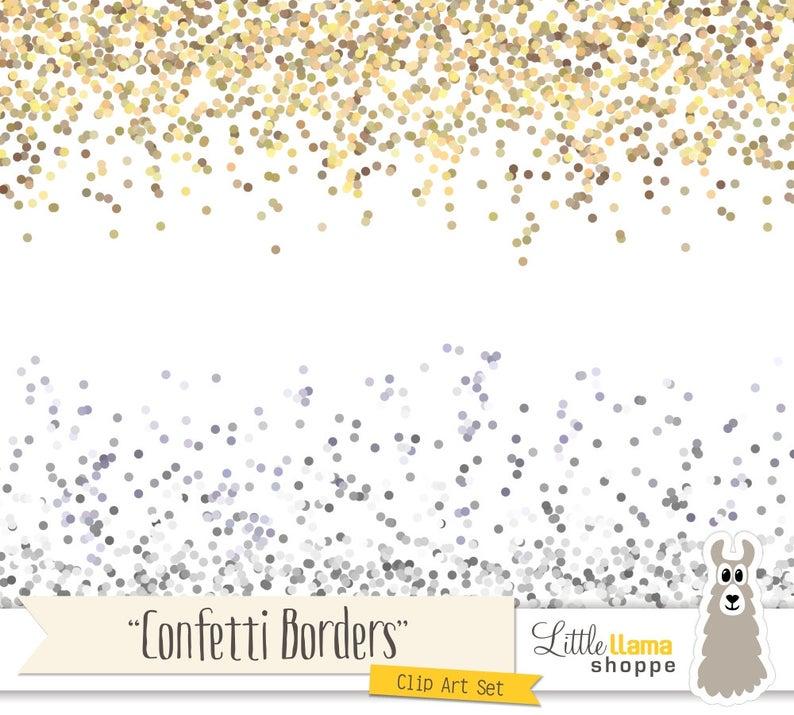 Border clipart glitter. Confetti clip art gold