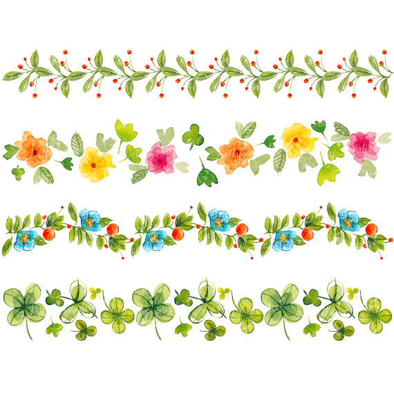 floral borders painted. Border clipart hand