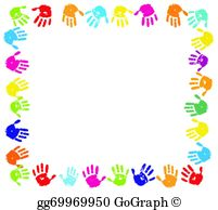 Vector stock hand paint. Hands clipart frame
