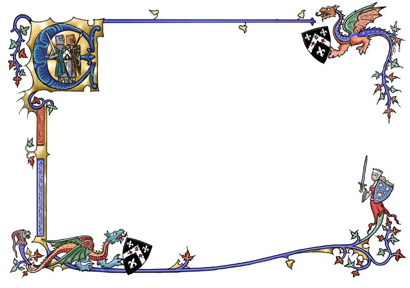 With dragons by dashinvaine. Border clipart medieval
