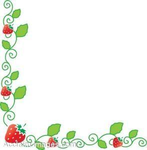Strawberry border doodle art. Strawberries clipart borders