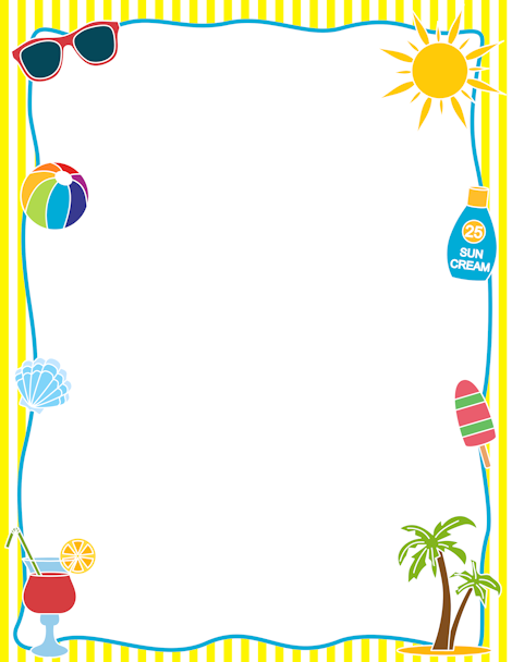 Printable border free gif. Boarder clipart summer