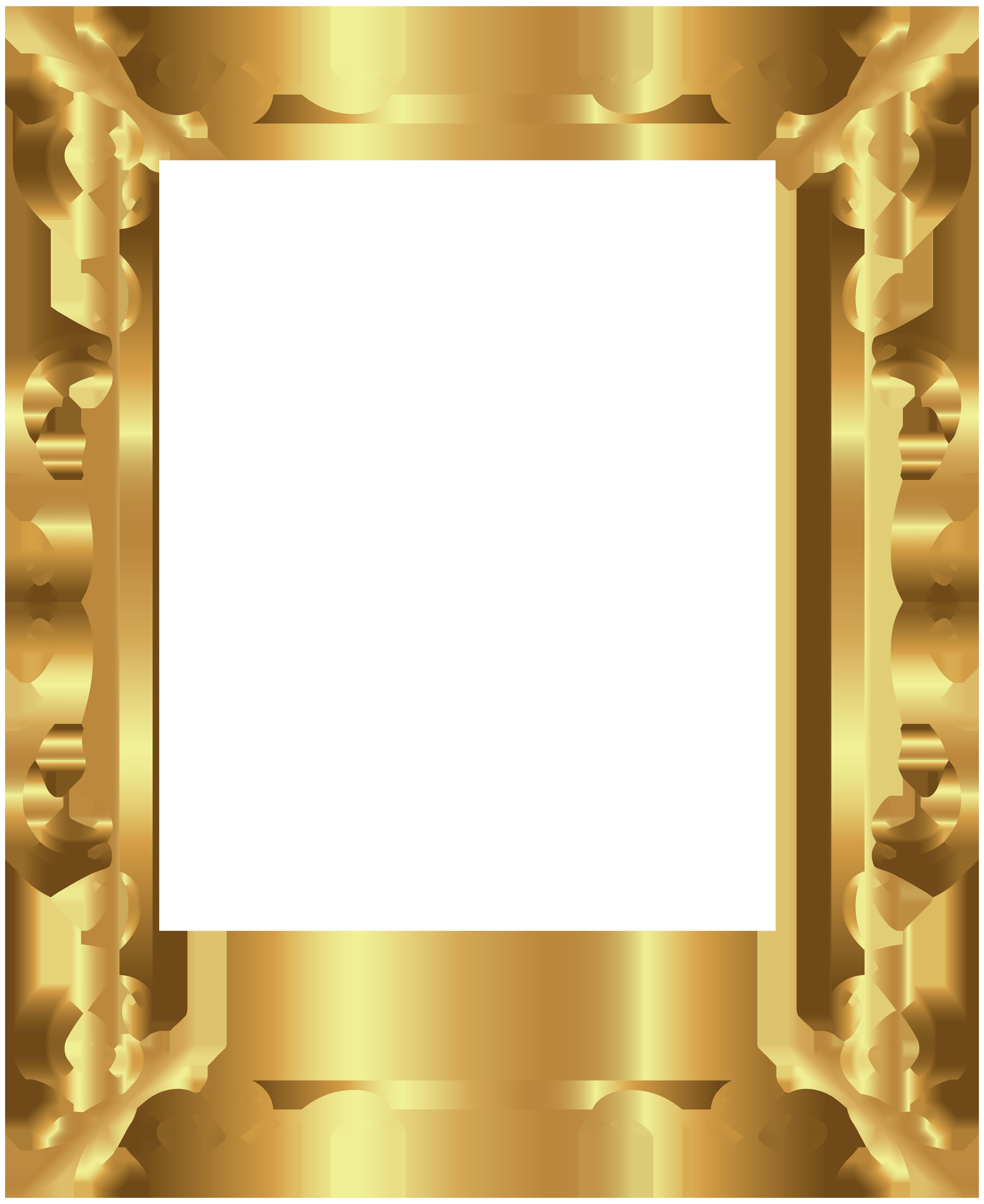 Frame deco transparent clip. Gold border png