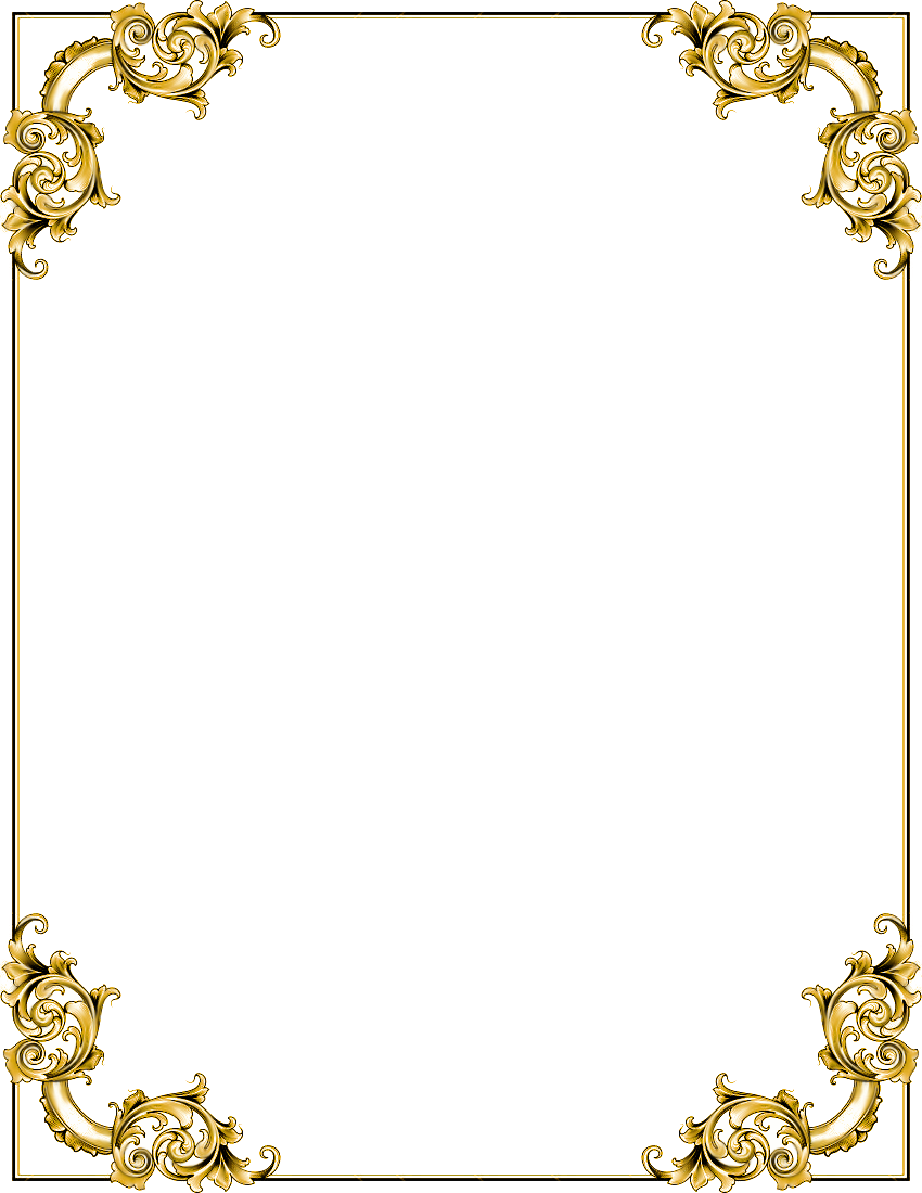 Gold frame transparent image. Fantasy border png