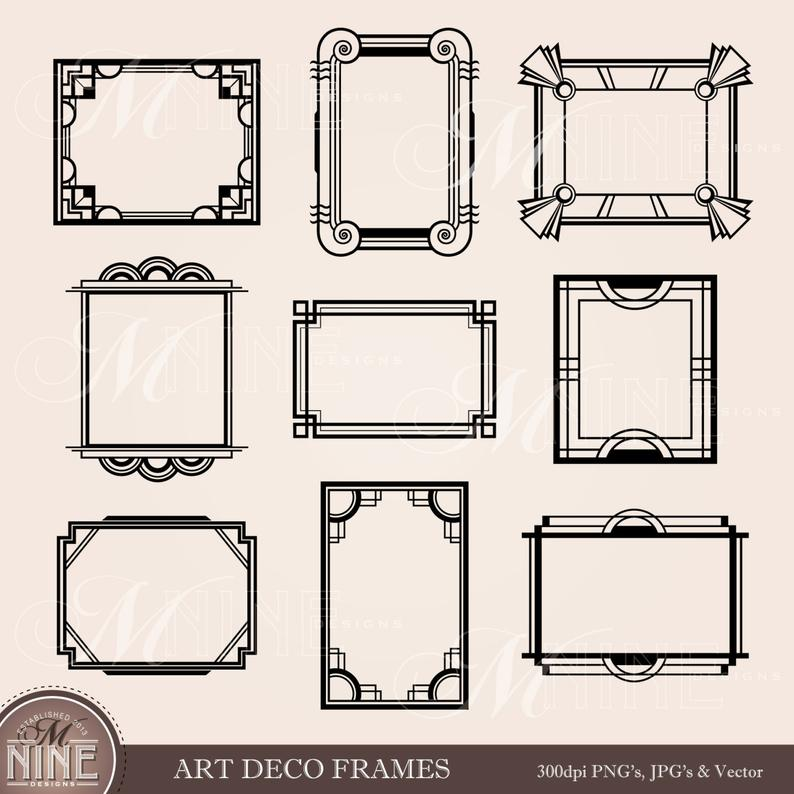 Frame clip frames design. Borders clipart art deco