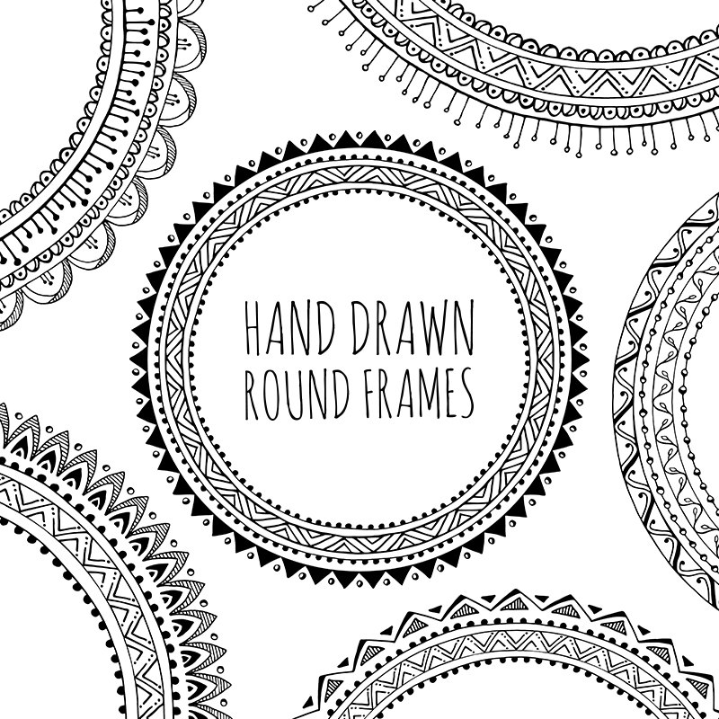 hand drawn decorative. Boho clipart doodles
