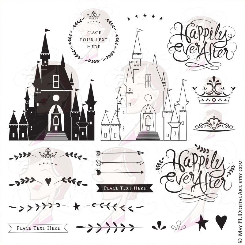Borders clipart castle. Fairytale wedding diy invitations