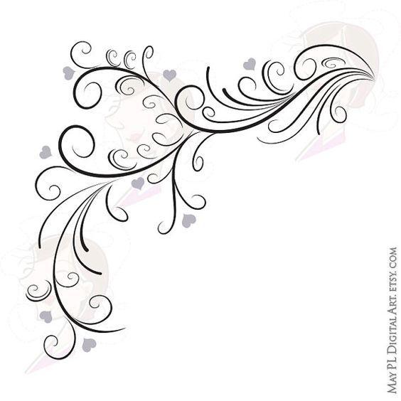 Retro elegant flourish curly. Flourishes clipart wedding invite