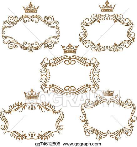 Vector art vintage brown. Borders clipart royal