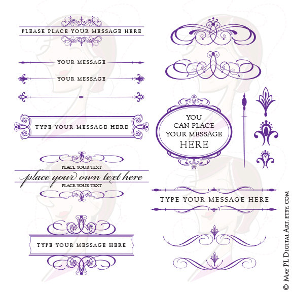 Borders clipart royal. Purple wedding set includes