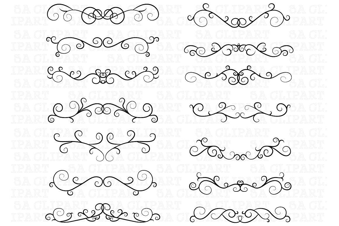 Flourish border frame illustrations. Boarder clipart swirl