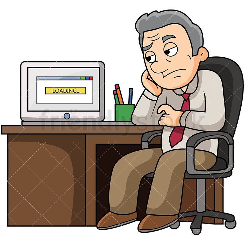 Bored clipart bored man. Old waiting for slow