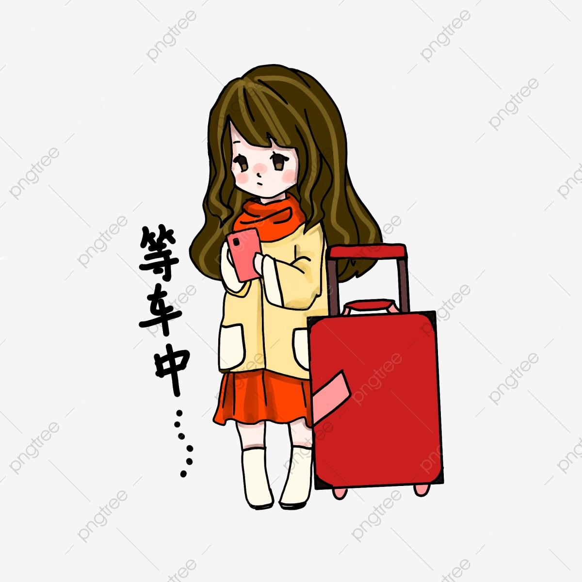 Girl playing with mobile. Bored clipart home clipart
