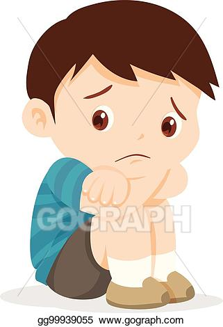 Fear clipart alone. Vector illustration sad boy