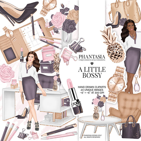 Fashion clipart fashion product. Girl boss office watercolor