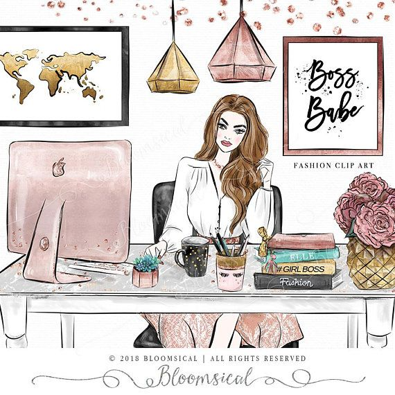 A glamorous feminine girl. Boss clipart computer