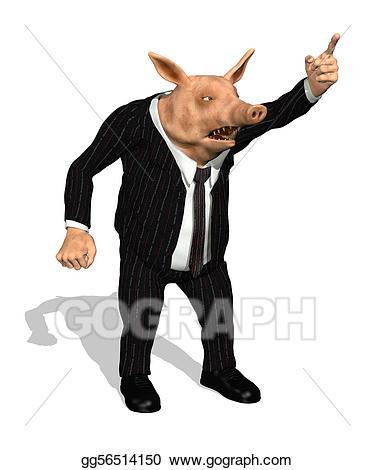 Demanding business pig stock. Boss clipart greedy