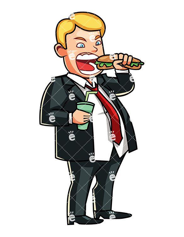 Boss clipart greedy. An overweight man eating