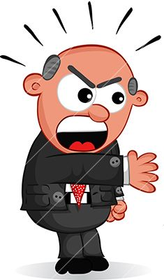 Cartoon angry boss man. Yelling clipart bad work
