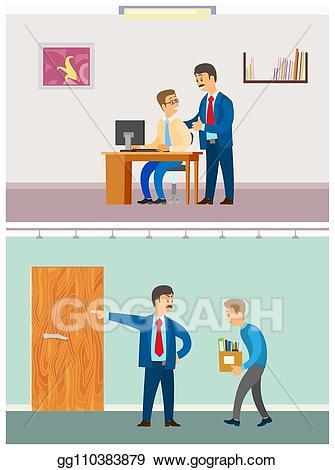 Vector boss discharging unemployed. Stress clipart angry employee