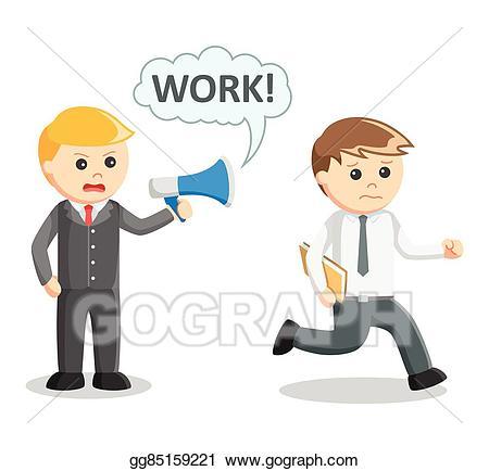 Vector illustration order to. Boss clipart work boss