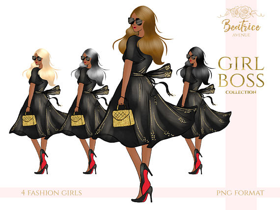 African american girl boss. Fashion clipart