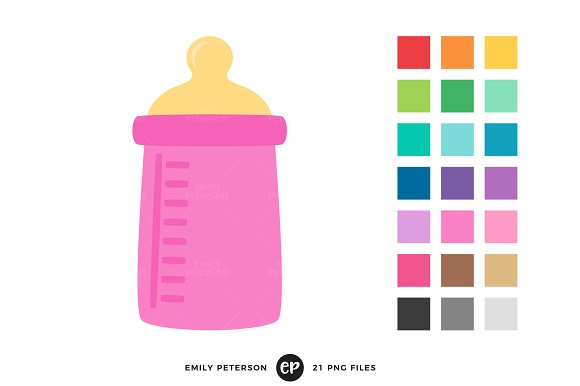 Illustrations creative market . Bottle clipart baby bottle
