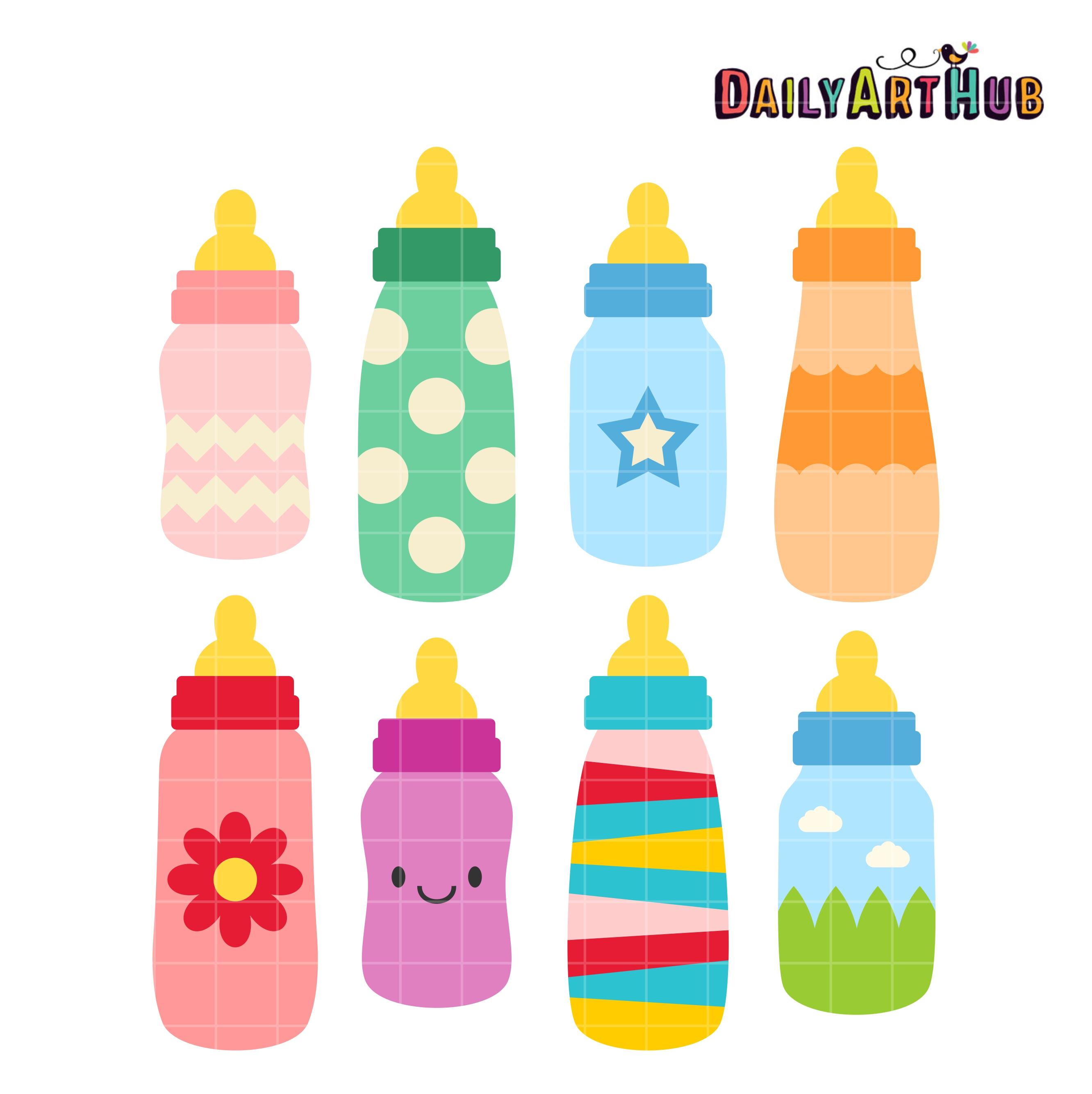 Bottles clip art set. Bottle clipart baby bottle